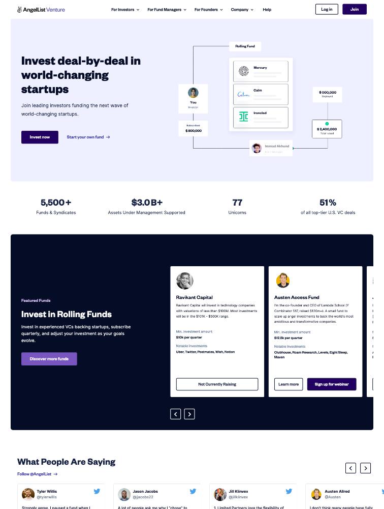 AngelList Venture Landing Page Example