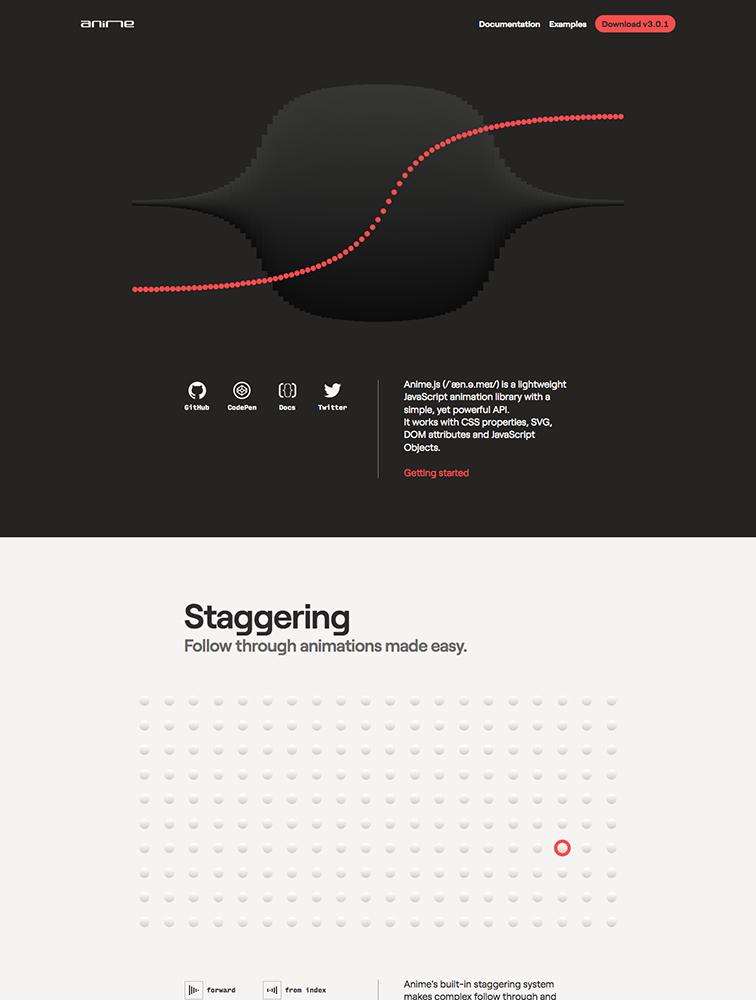 anime js landing page design inspiration - Lapa Ninja