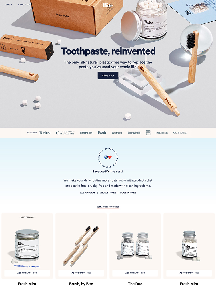 Bite Toothpaste Bits Landing Page Example