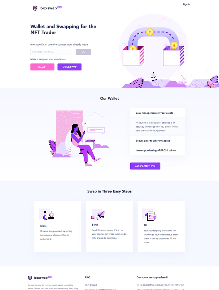 Boxswap Landing Page Example