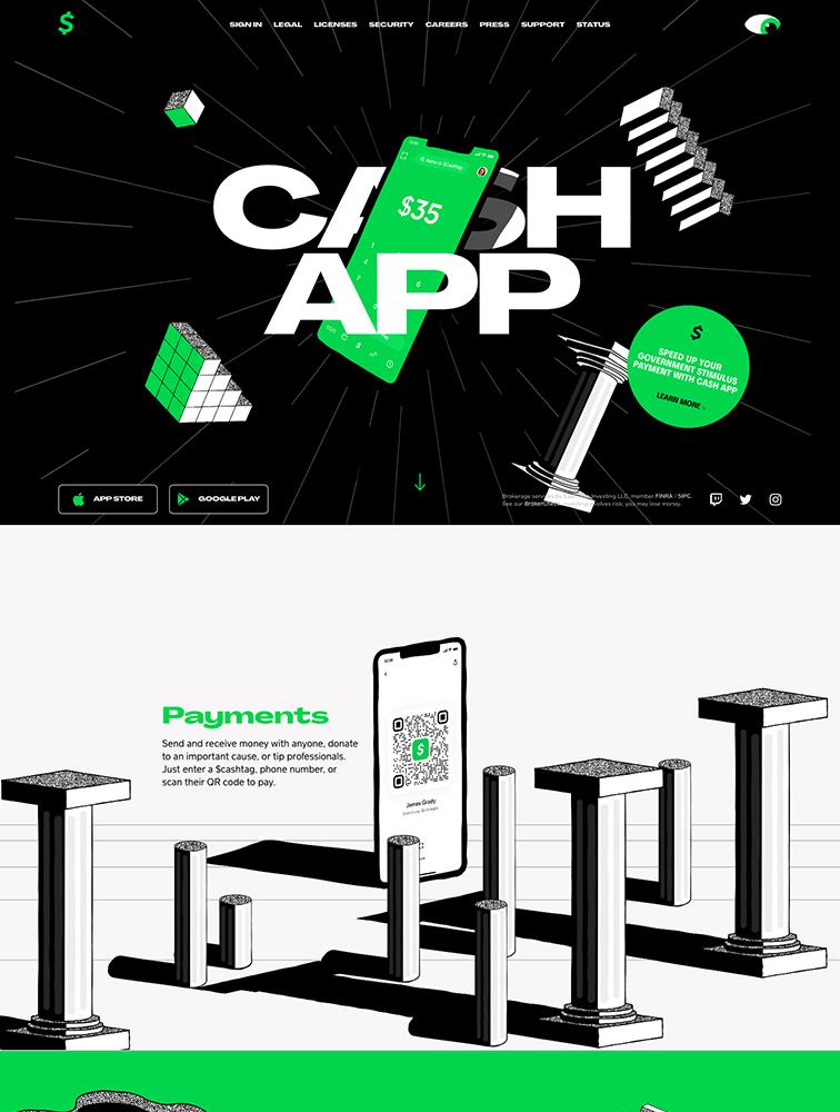 Cash App Landing Page Example