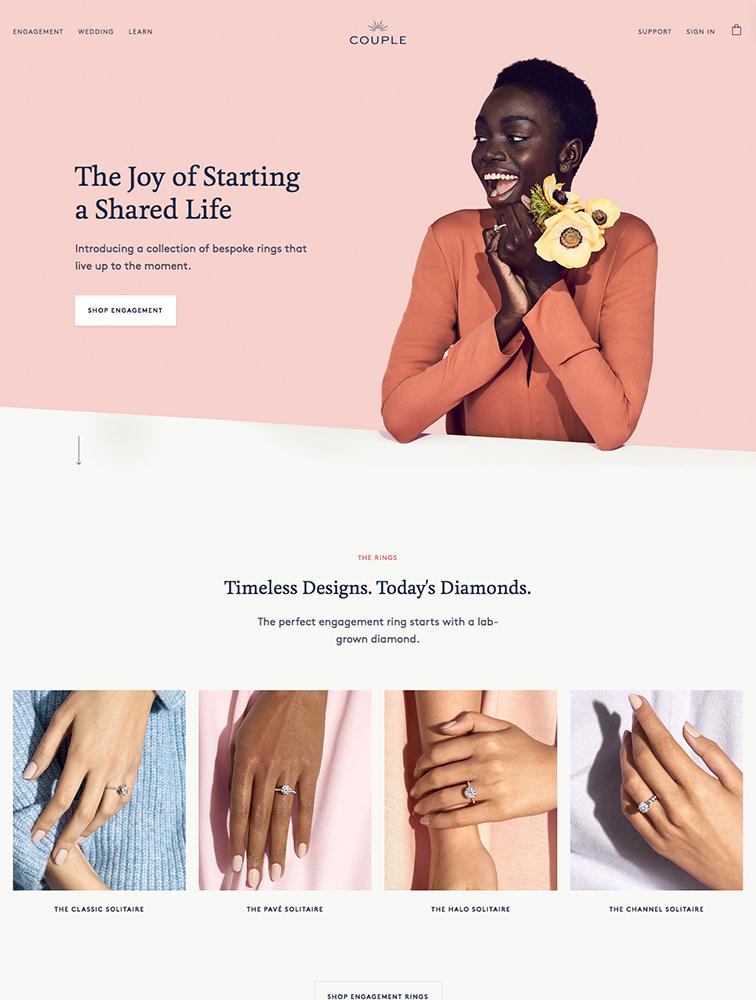 Couple Diamonds landing page design inspiration - Lapa Ninja