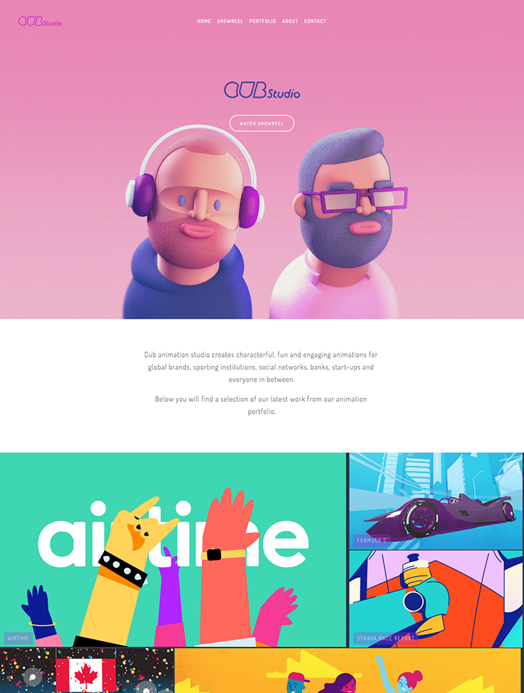 Cub Animation Studio Landing Page Example