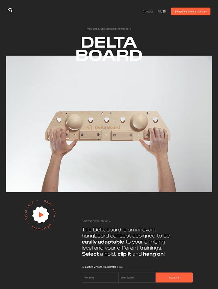 Delta Board Landing Page Example
