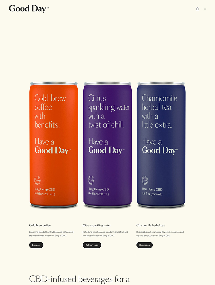 Good Day Beverage Landing Page Example
