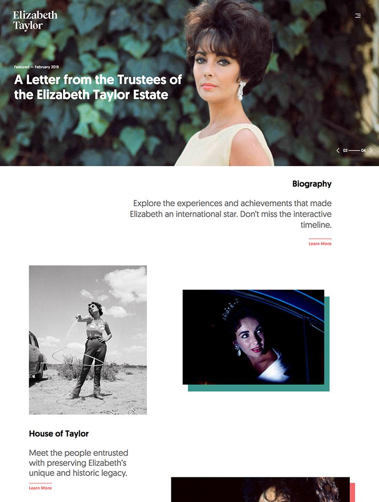 Elizabeth Taylor Landing Page Example