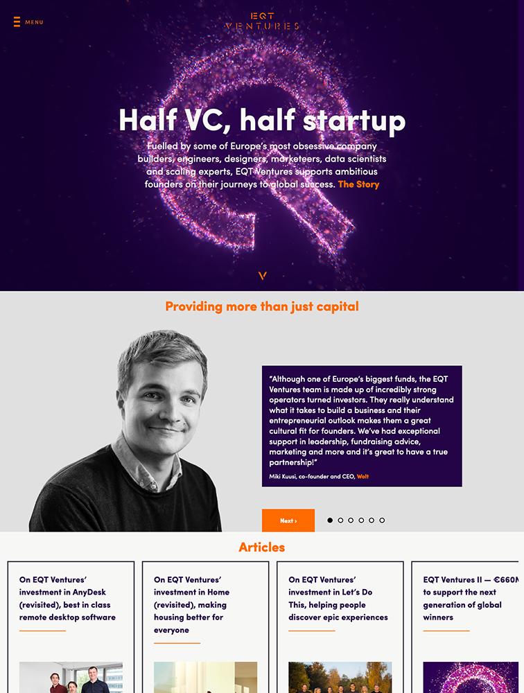 EQT Ventures Landing Page Example
