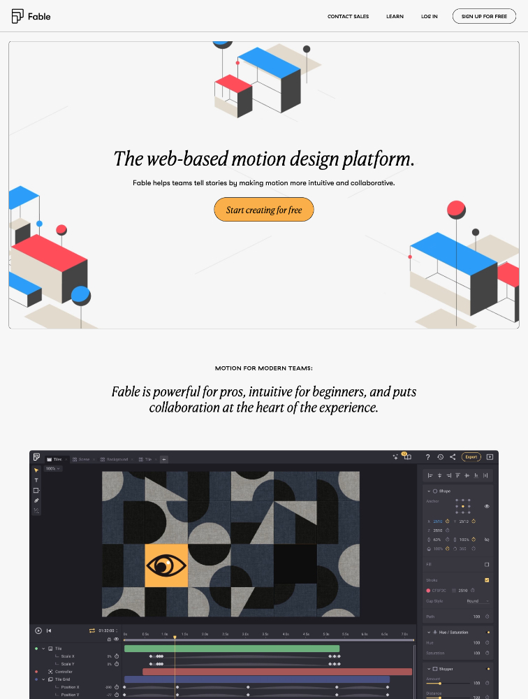 Fable Landing Page Example