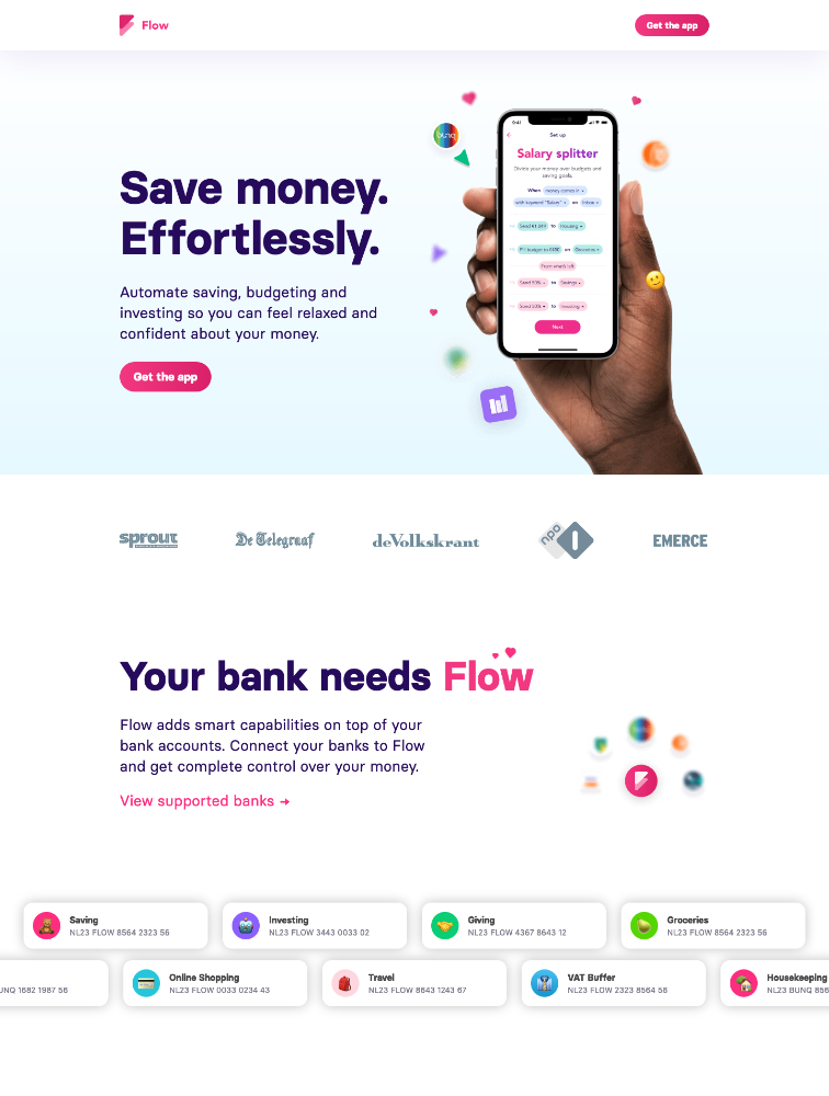 Flow Your Money Landing Page Example