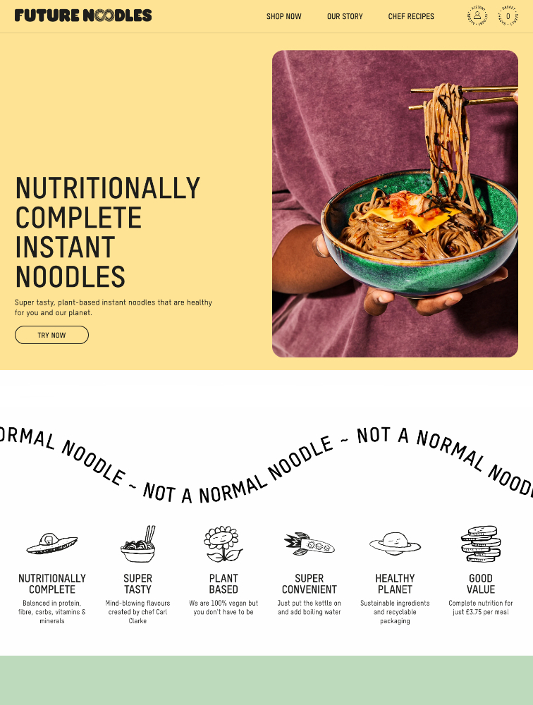 Future Noodles Landing Page Example