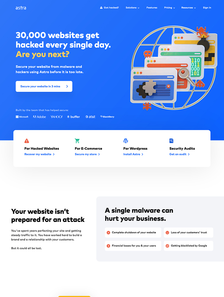 Astra Landing Page Example