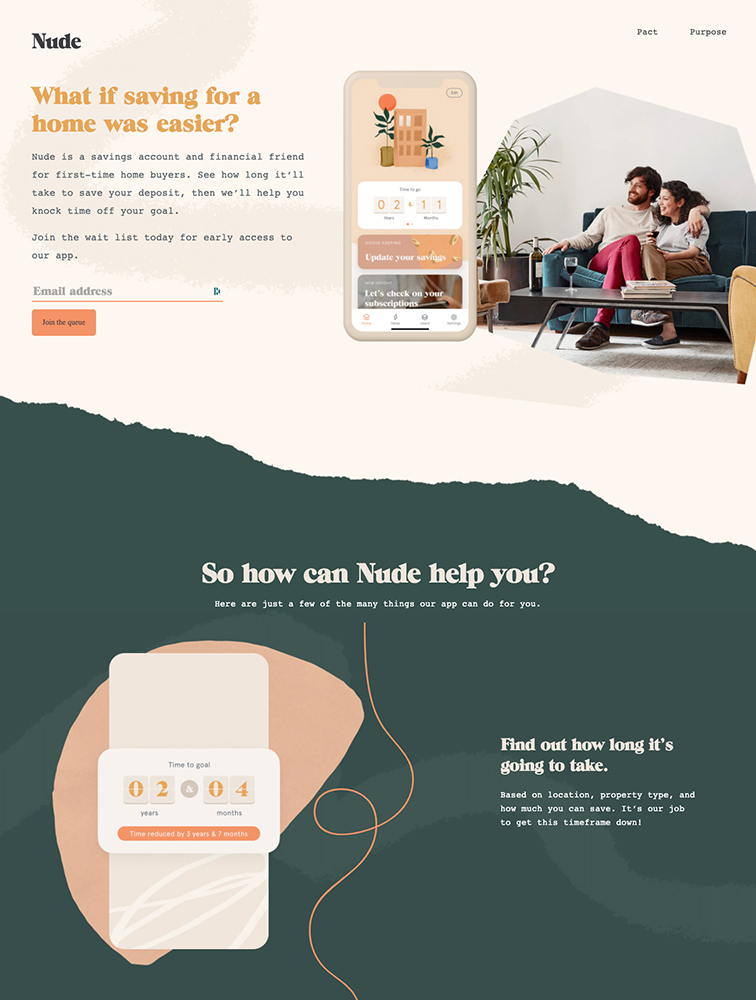 Nude Landing Page Example