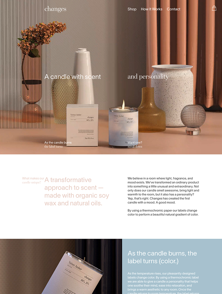 Changes Candles Landing Page Example