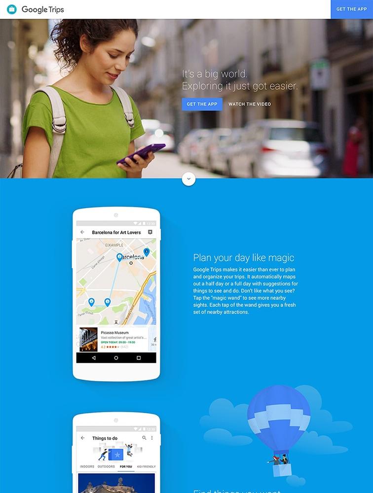 Google Trips landing page design inspiration - Lapa Ninja