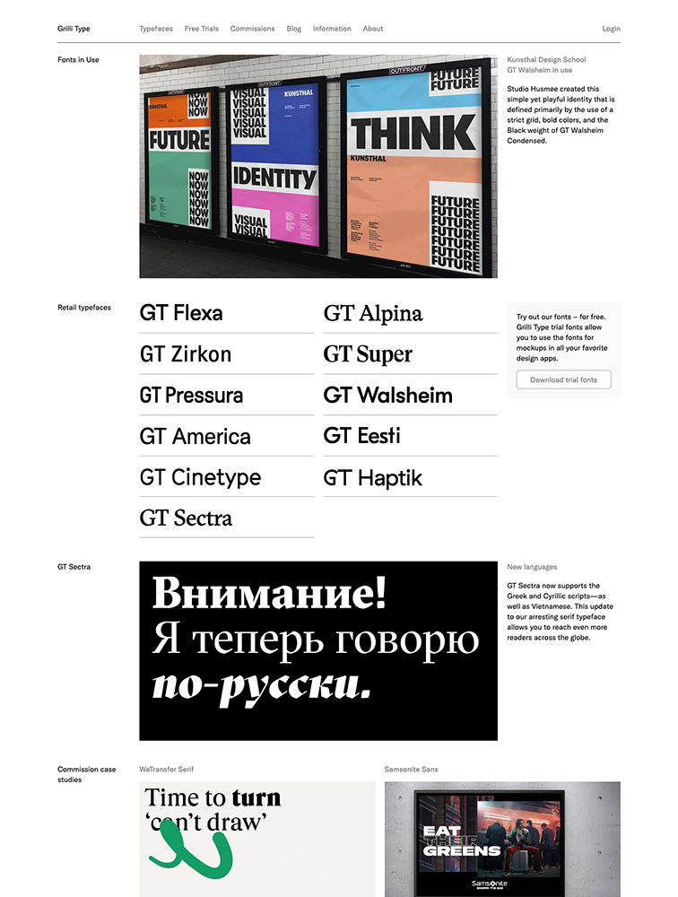 Grilli Type Landing Page Example