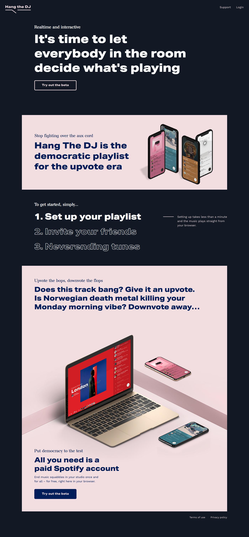 Hang the DJ landing page design inspiration - Lapa Ninja