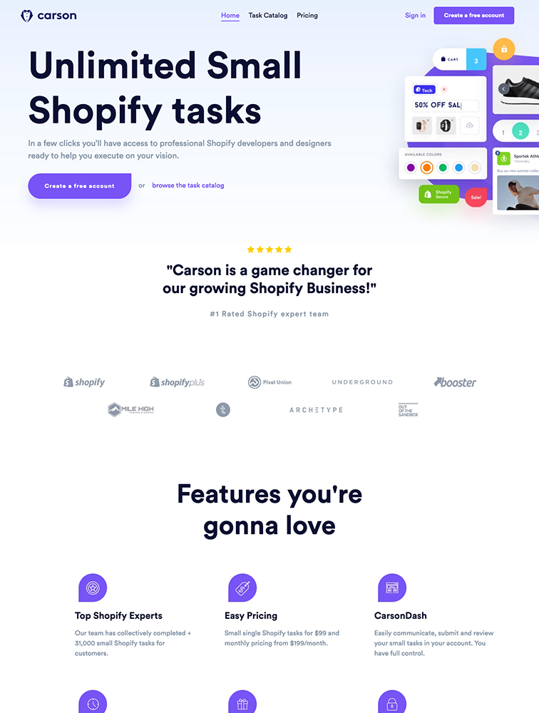 Carson Landing Page Example