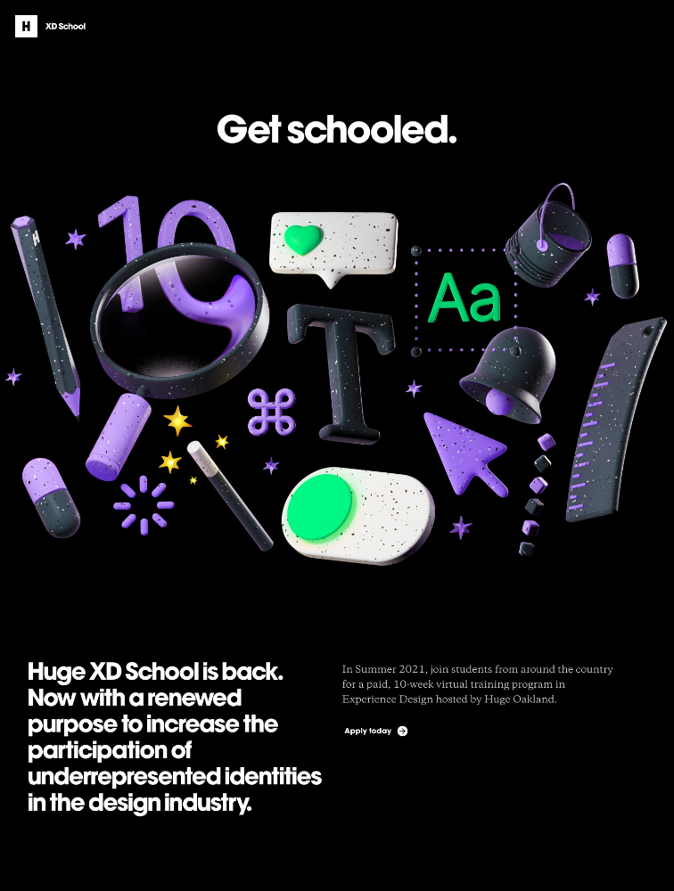 Huge XD School Landing Page Example