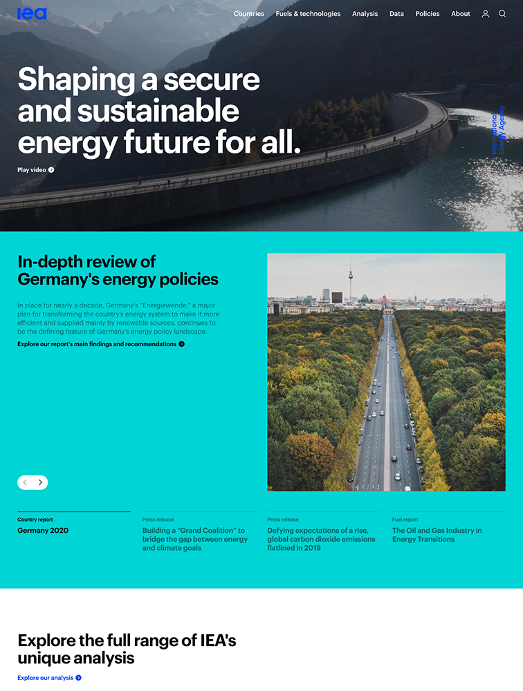 International Energy Agency Landing Page Example