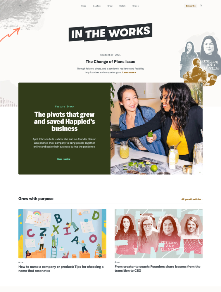 In the Works Landing Page Example