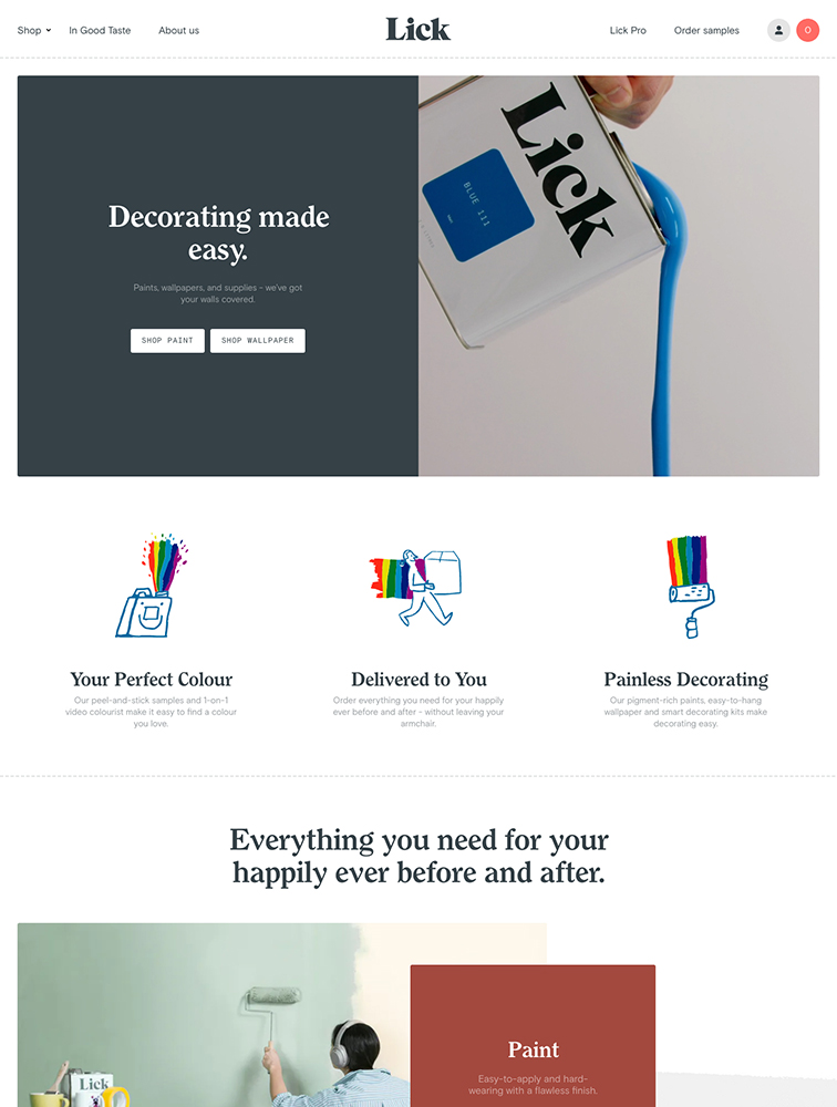 Lick Landing Page Example