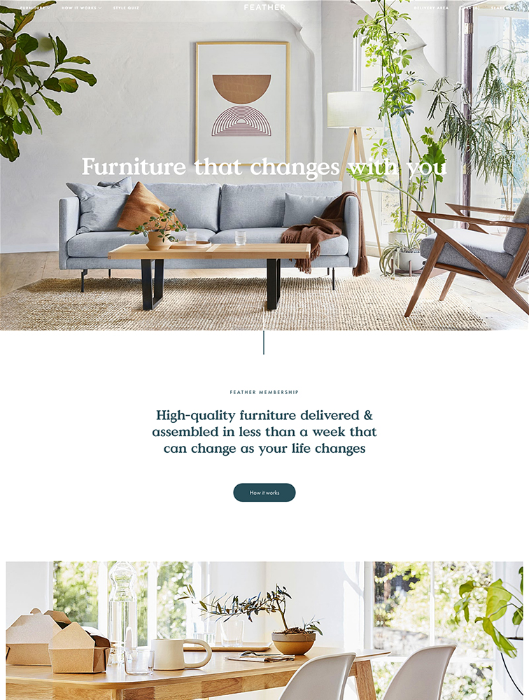 Feather Landing Page Example