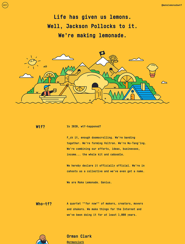 Make Lemonade Landing Page Example