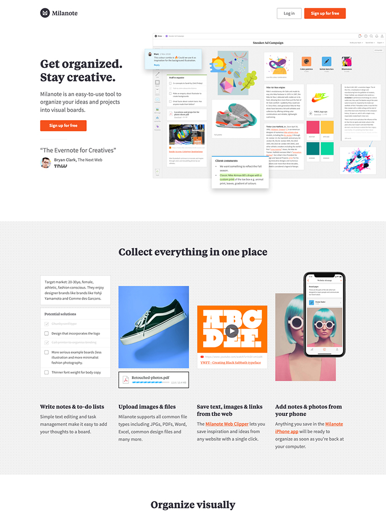 Milanote Landing Page Example