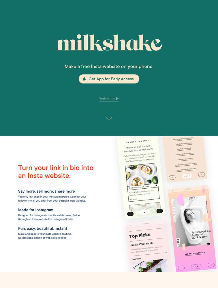 Milkshake Landing Page Example