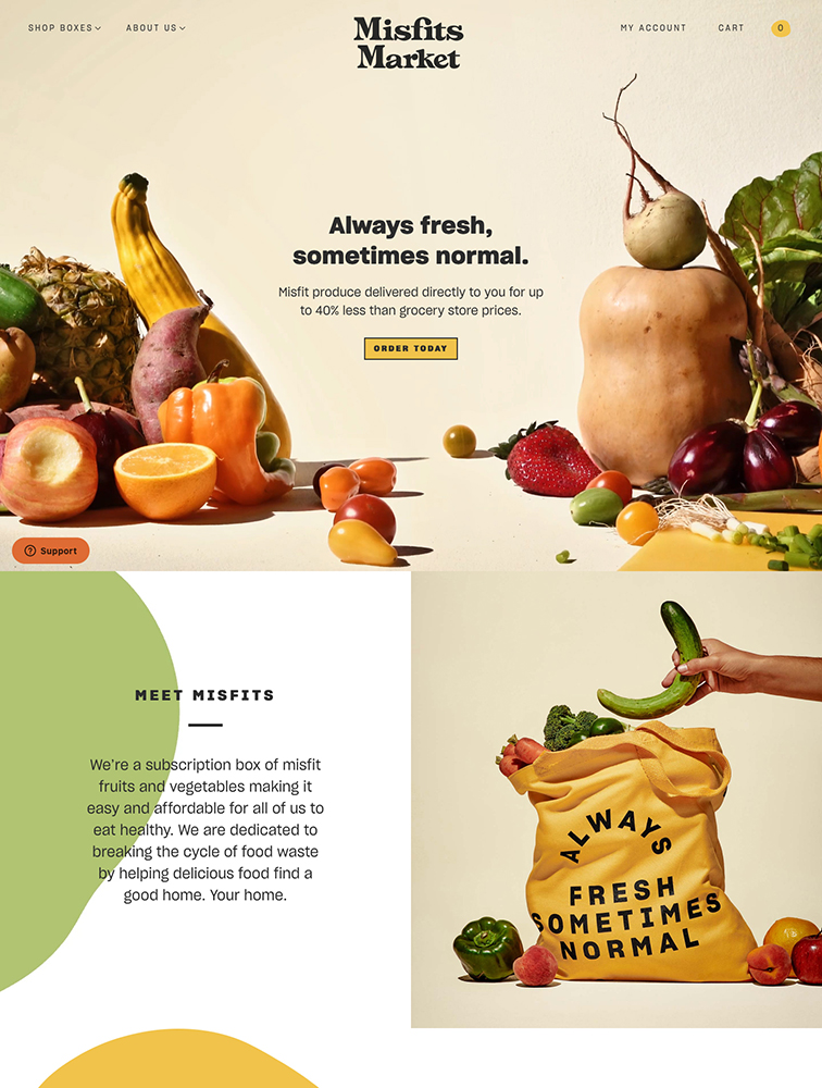 Misfits Market Landing Page Example