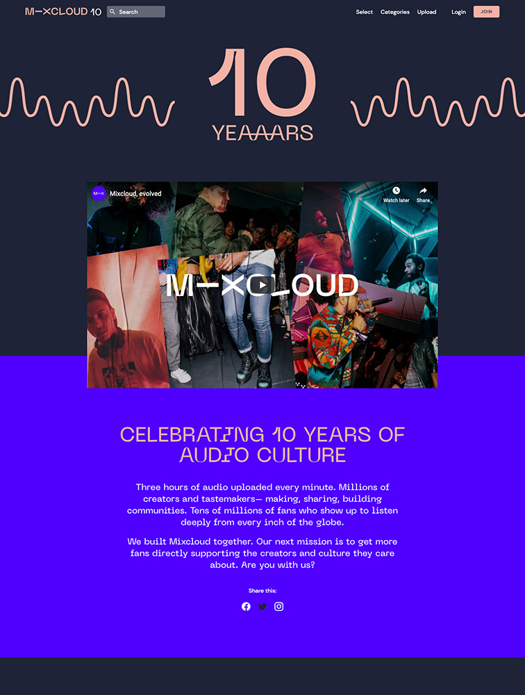 Mixcloud - 10 Years Landing Page Example