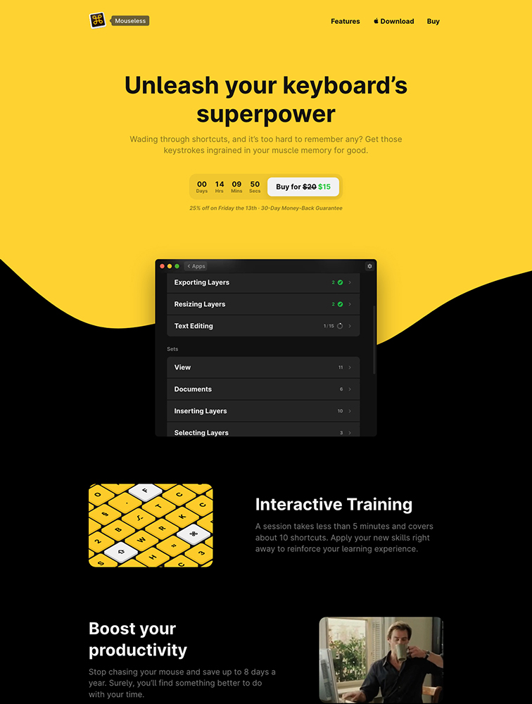 Mouseless Landing Page Example