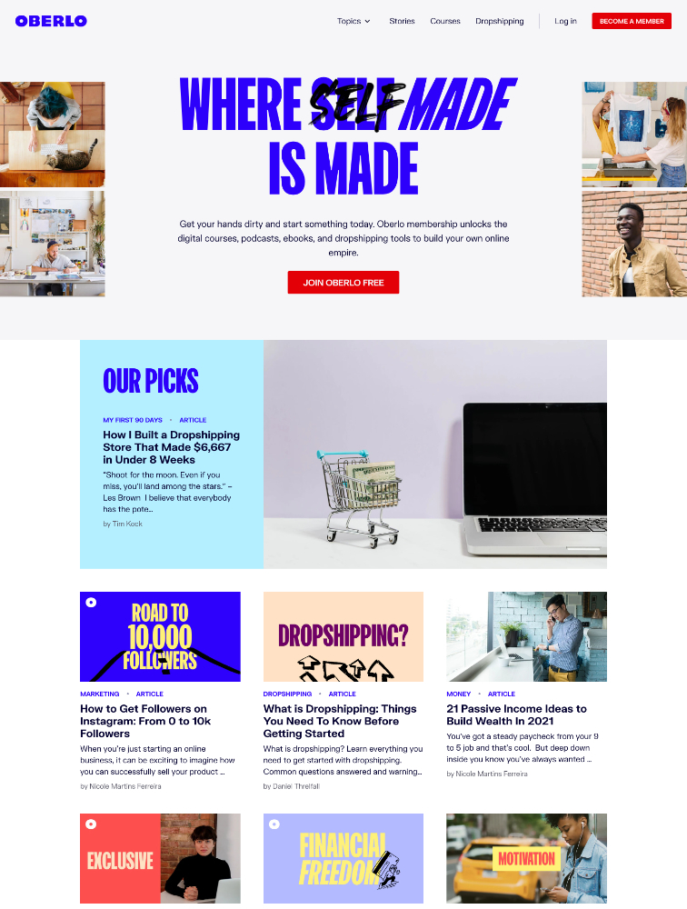 Oberlo Landing Page Example