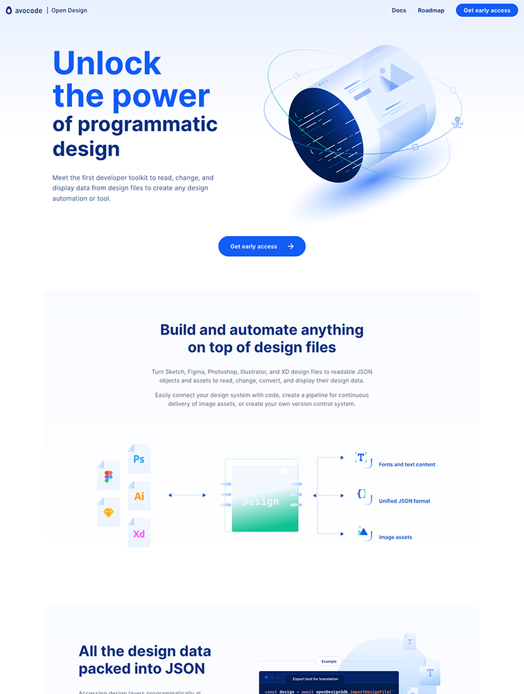 Open Design Landing Page Example