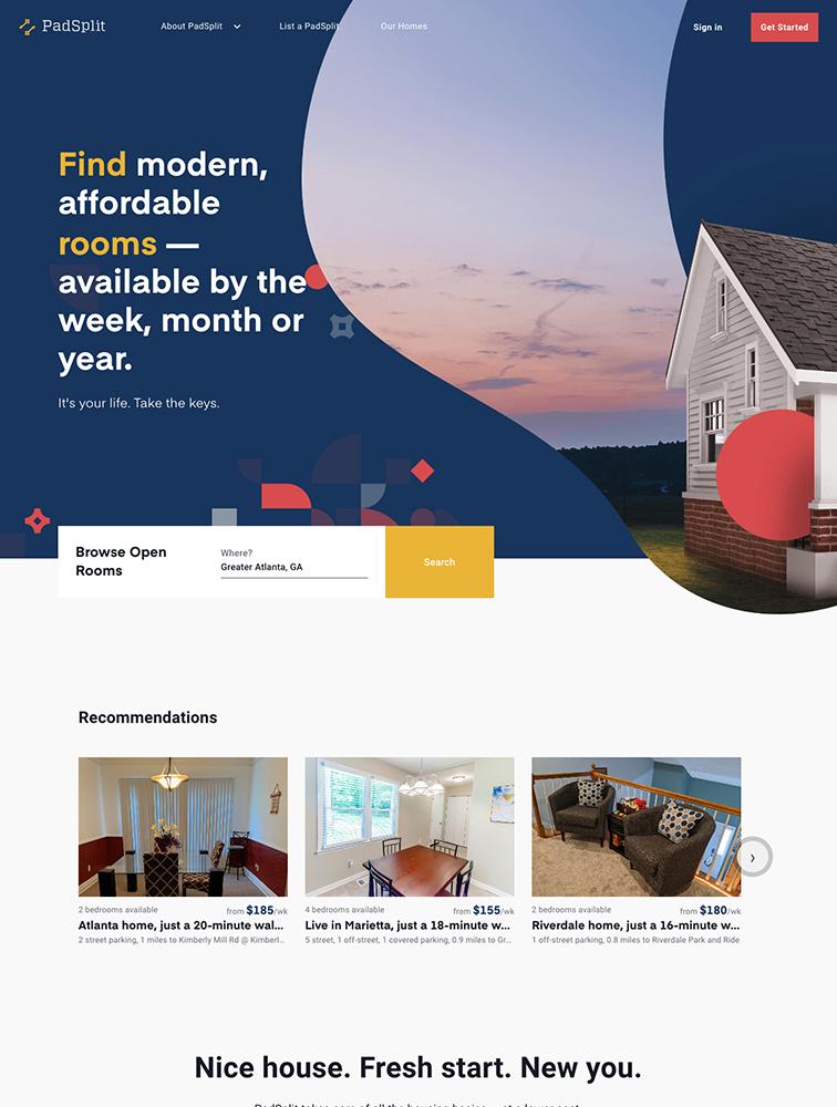 PadSplit Landing Page Example