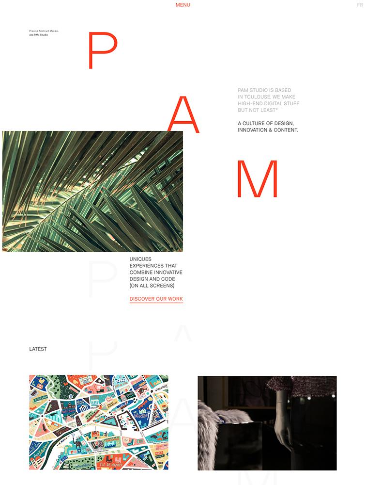 PAM Studio Landing Page Example