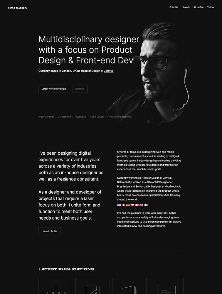 Patryk Zabielski Landing Page Example