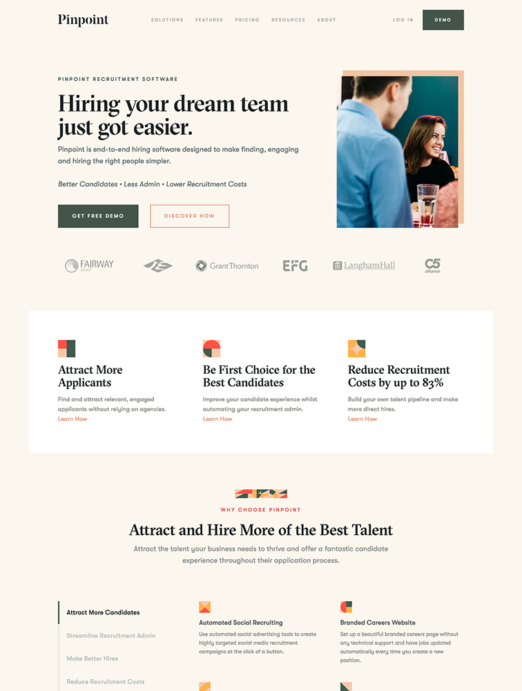 Pinpoint Landing Page Example