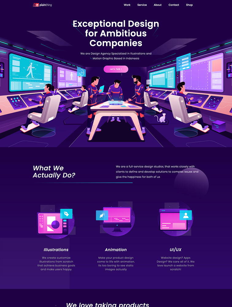 Plainthing Studio Landing Page Example