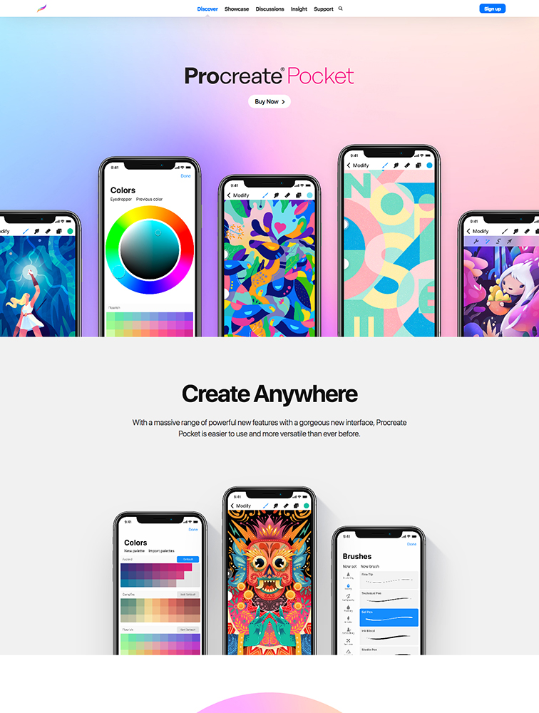 Procreate Pocket Landing Page Example