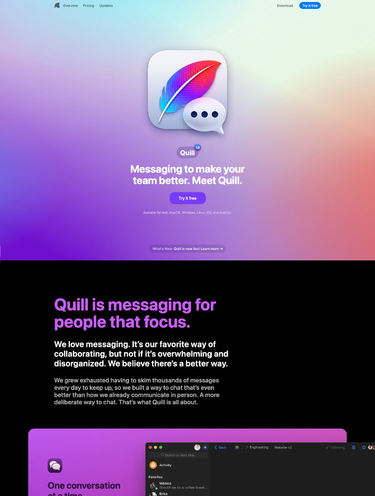 Quill Landing Page Example