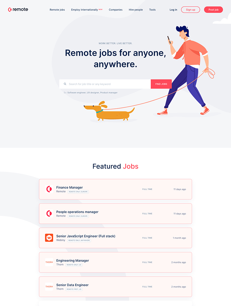 Remote Landing Page Example