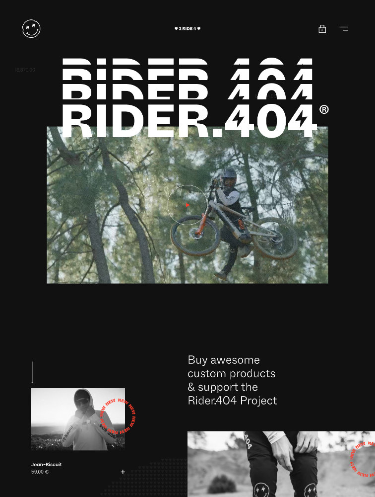 Rider.404 Landing Page Example