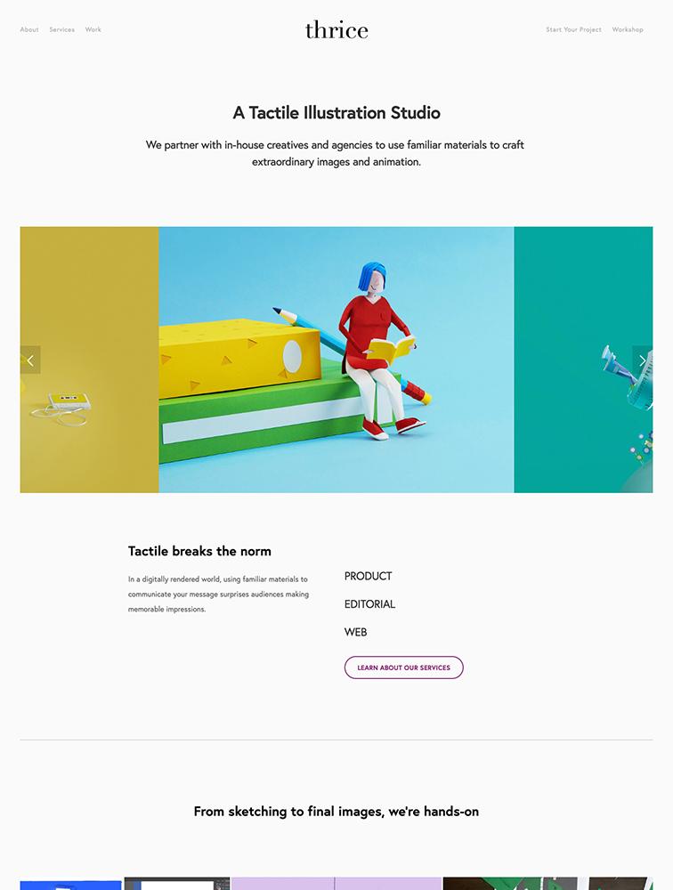 Thrice Studio Landing Page Example