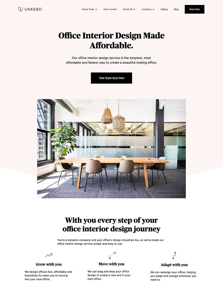 Uneebo Design Landing Page Example