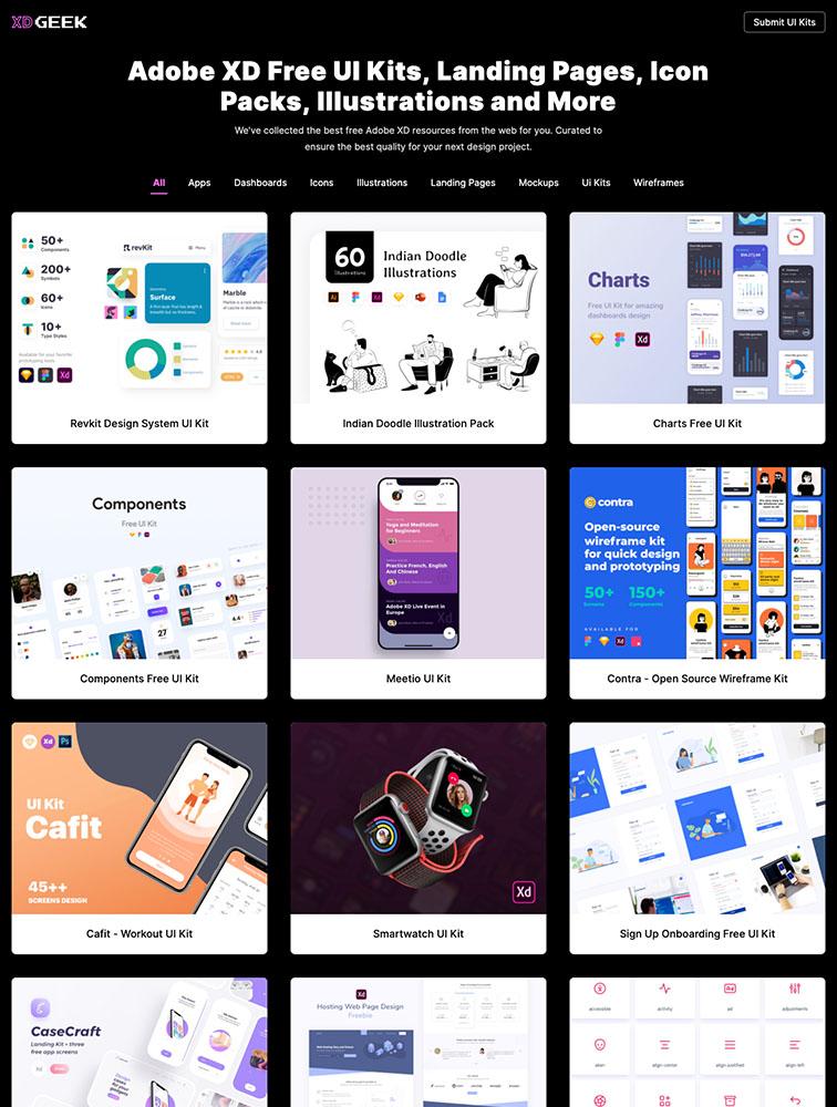 XD Geek Landing Page Example