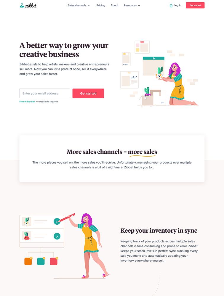 Zibbet Landing Page Example